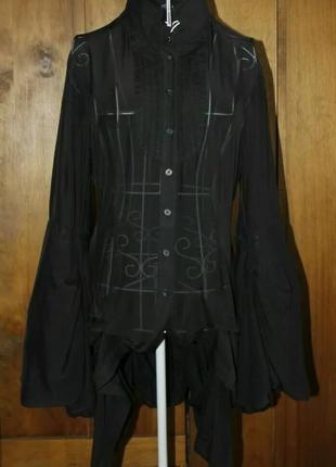 Прозора блузка з шовку з пишними рукавами