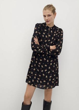 Платье мини чёрное mango