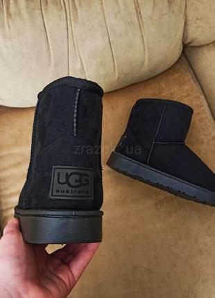 Низкие черные угги ботинки унты снегоходы