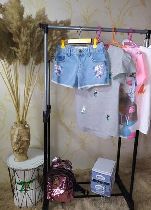 10-11 лет шорты с вышивкой denim co
