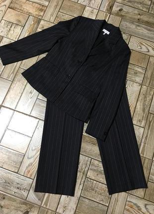 Шерстяной брючный костюм в полоску michele boyard