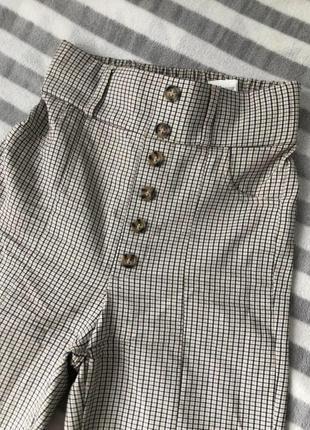 Лосины брюки штаны в клетку с высокой посадкой