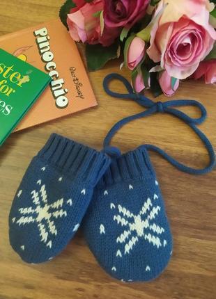 Теплые вязонные с мехом рукавички на 12-24 месяца