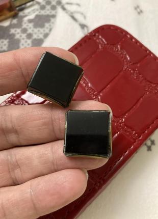 Квадратные запонки с чёрными камнями винтаж ссср