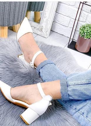 Свадебные белые туфли на толстом каблуке босоножки4 фото