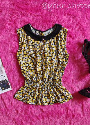 Atm легкая блузка с баской стильная / классическая желтая белая черная s 10 / 36