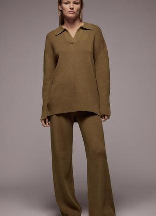 Вязаный костюм с брюками палаццо zara
