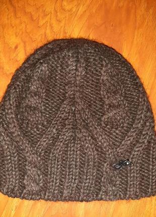 Шапка крупная вязка темно-коричневая на подкладе