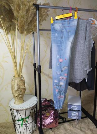 12-13 лет джинсы с вышивкой denim co