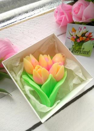 Мыло тюльпаны в коробочке.