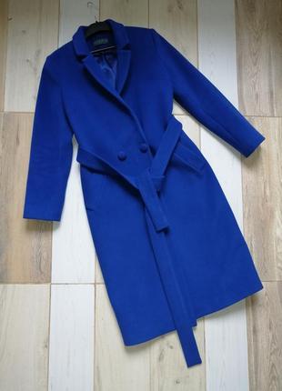 Обалденное синее яркое длинное пальто шерсть  zara bershka topshop mango