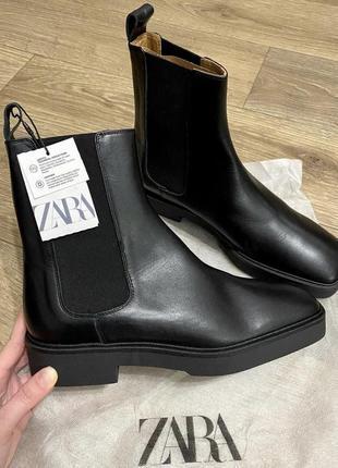 Ботинки/челси/ботильйоны новые высокие кожаные натуральные  zara