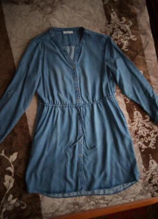 Фирменное джинсовое платье-рубашка 50р