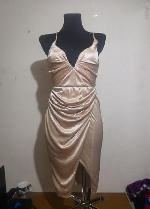 Платье миди золото