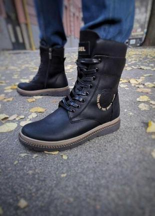 Ботинки кожаные зимние diesel cassidy combat black