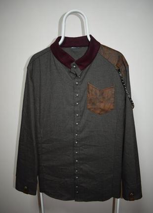 Рубашка дизайнерская gucci кожанные вставки и цепи