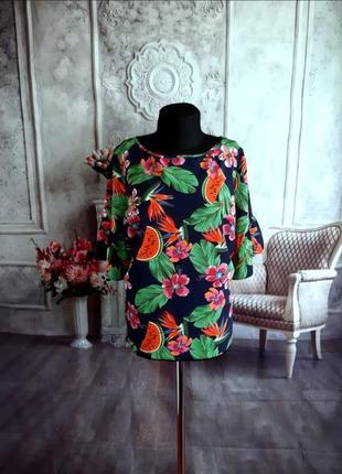 Мега крутая яркая блузка батал бохо