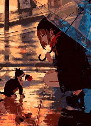 Картина по номерам 40*50 «вечер для двоих» (кот и девушка)