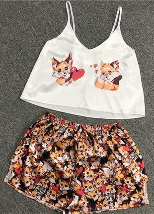 Женская шелковая пижама love fox