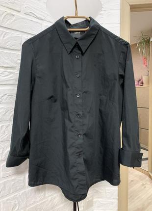 Рубашка женская чёрная хлопок прямого  свободного кроя