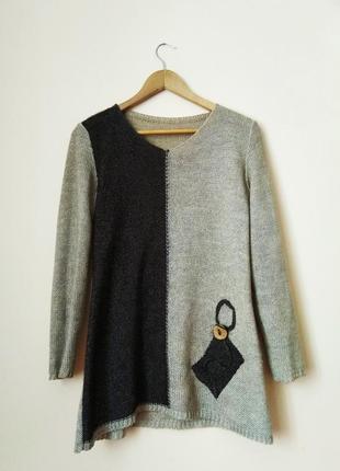 Двухцветный свитер кофта в минималистском стиле