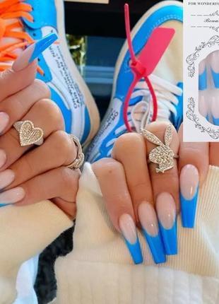 Накладные ногти типсы форма балерина с синим голубым френчем