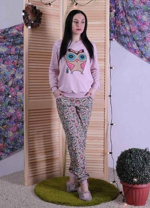 Женская теплая пижама кофта со штанами.