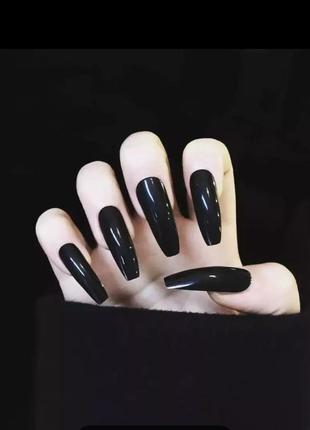 Накладные ногти типсы форма балерина длинные чёрные