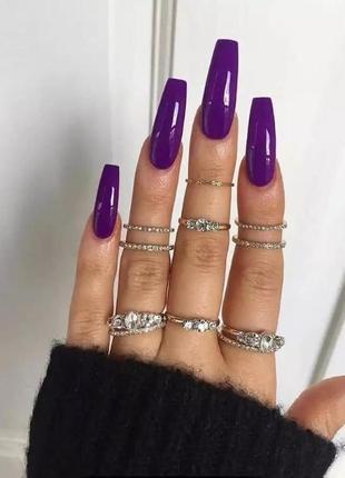 Накладные ногти типсы форма балерина длинные фиолетовые