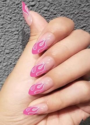 Накладные ногти типсы миндальной формы с розовым огнём