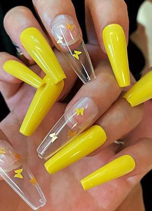 Яркие жёлтые длинные накладные ногти типсы форма балерина с бабочками