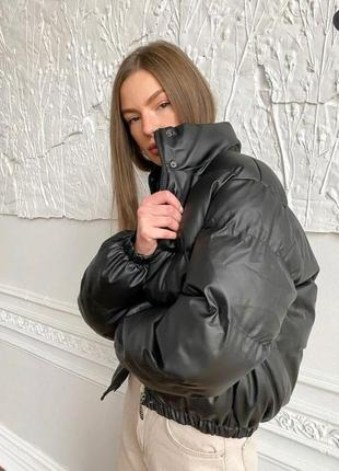 Женская куртка эко кожа, стильная короткая куртка