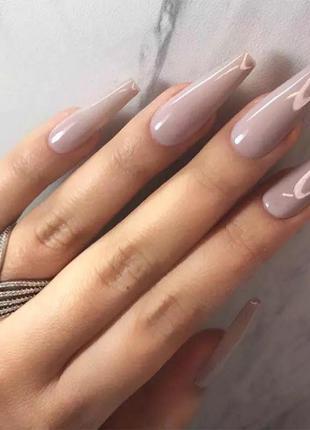 Накладные ногти типсы форма балерина длинные кофейного бежевого цвета