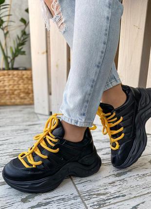 Стильные черные женские кроссовки 🤤 новинка весна 2021