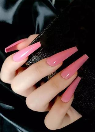 Накладные ногти типсы форма балерина розовые