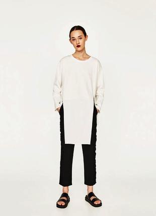 Белый ассиметричный пуловер zara, s