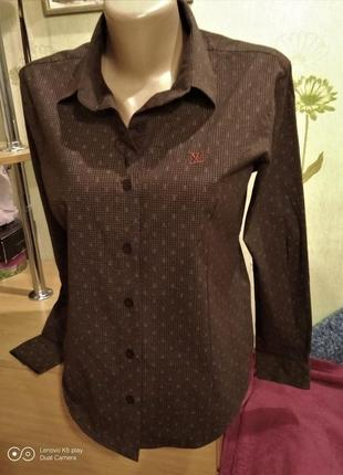 Рубашка женская коттоновая-коричневая- классика- m--l---louis-vuitton- франция-- новая