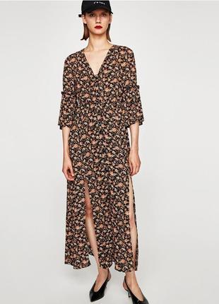 Летнее платье zara с разрезами.