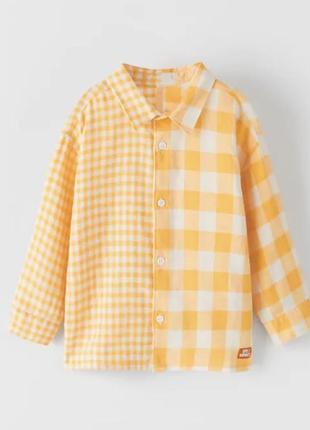 Рубашка zara комбинированная в клетку оверсайз