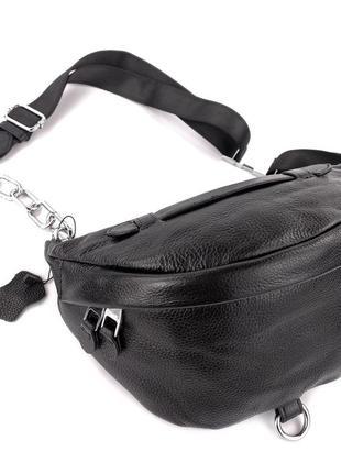 Тор💥кожаная крутая сумка бананка через плечо черная, сумка поясная на цепи, чорна барсетка
