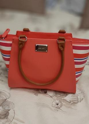 Элегантная сумка nine west кораллового цвета,оригинал, подарок девушке, акция 3 дня!