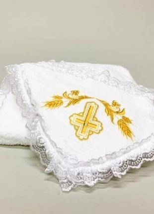 Крыжма уголок с капюшоном золотой крест с колосками
