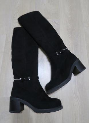 Зимние замшевые сапоги сапожки на каблуке