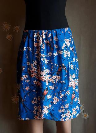 Невероятная брендовая  юбка с запахом трендовый синий сакура цветы птицы /обмен/распродажа