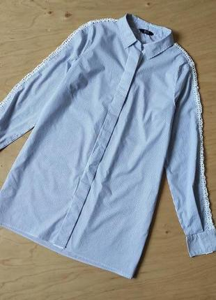 Рубашка  блузка   с  рукавом  из плотного  кружева  f&f