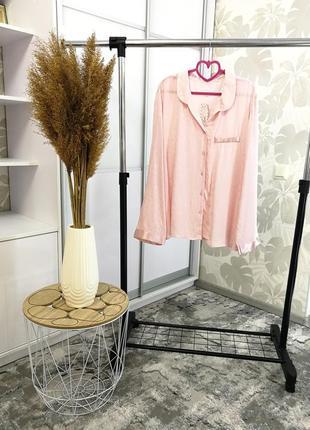 Нежно-розовая рубашка в пижамном стиле, р. 18