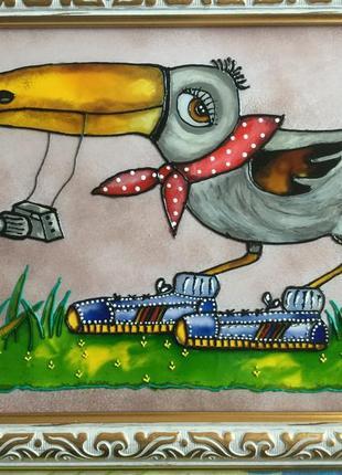 Витражная картина (ворона)