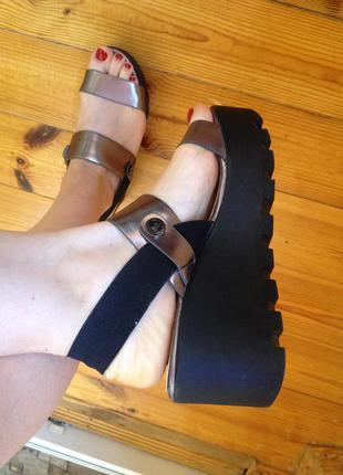 Босоножки на платформе размер 38 кожаные босоножки летняя обувь сабо туфли кожа платформа