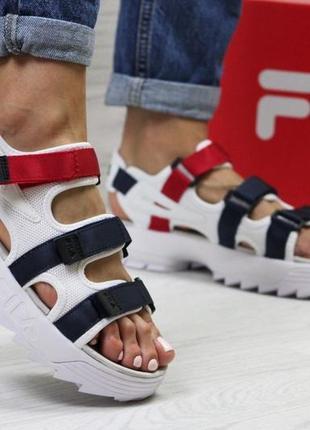 Женские сандали , босоножки fila (белые с сине/красным)