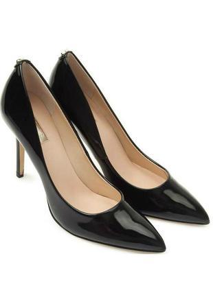 Черные лаковые туфли на шпильке guess оригинал! кожа!  шок-цена! 1399 грн!
